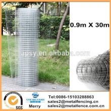 "1""x1""Galvanised Chicken Rabbit Aviary Welded Wire Mesh Garden Fence 0.9X30m"
