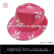 Chapeau de fête en papier fedora en paillettes roses