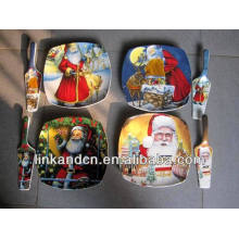 Haonai 2014 plato de cerámica caliente del regalo del rectángulo de las ventas con el servidor