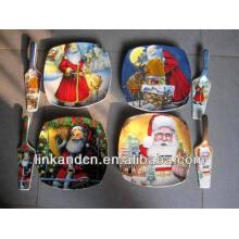 Haonai 2014 vente chaude rectangle cadeau en céramique assiette avec serveur