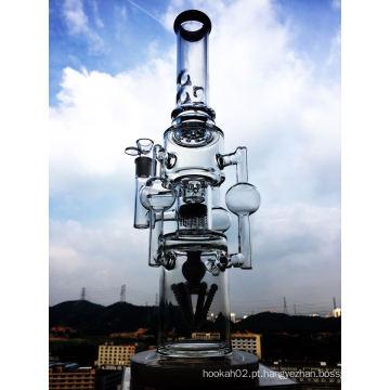 Atacado 17 polegadas 5 milímetros de espessura dupla Inline Recycler Stereo Matrix Percolator Vidro Fumar Tubo de Água