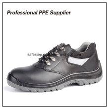 Zapatos de seguridad de cuero genuino de inyección de PU de doble densidad