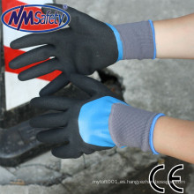 NMSAFETY doble inmersión nitrilo equipo de seguridad guante de trabajo