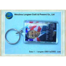 Advertising Customized rectangle shaped acrylic key chain /