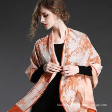 Silk Chiffon Doppel Schal Orange Blume Drucke für Frauen Schals Sp20-3