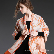 Silk Chiffon Double Scarf Orange Flower Prints for Women Scarves Sp20-3