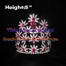 5inch Red Diamond Flower Shaped Crystal Crowns