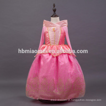 vestido cor-de-rosa da princesa dos miúdos do vestido do autora da beleza do sono da cor para o desgaste do partido
