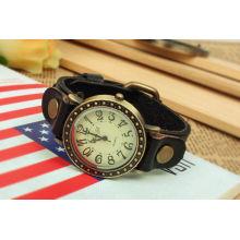 Schwarze Leder Uhrenarmbänder Großhandel Leder Uhrenarmband wasserdicht KSQN-09