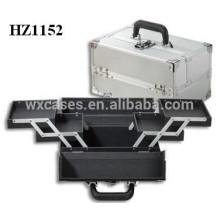 caso cosmético de aluminio de plata de alta calidad con 4 bandejas dentro