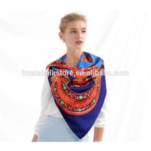 Alta qualidade twill lenço de seda impresso seda pura tecido xales e lenços por atacado