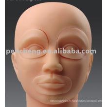 Tête de mannequin avec inserts pour machine de maquillage permanente