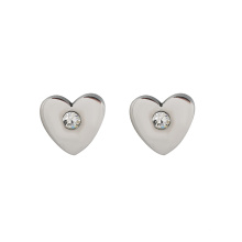 E-337 xuping haute qualité en acier inoxydable simple coeur forme strass dames stud boucles d'oreilles