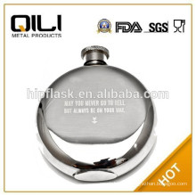 high quality hot round metal stainless steel hip flask