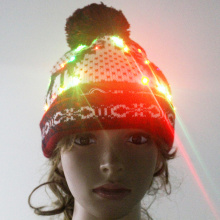 Light Up sombrero de Navidad, intermitente multicolor Pom Pom Led Beanie