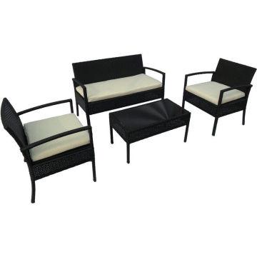 4 pedaços preto outdoor vime lazer mesa de café conjunto