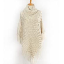 Женский свитер кардиган обертывания зимний вязаный кабель Бахрому шали пончо (SP610)
