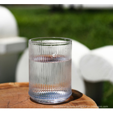 Transparent striped glass juice cups