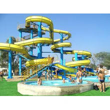 Spiral Water Park Play Equipment, Aqua Park red / green Fib