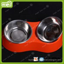 Rote Melamin-Doppelschale mit Edelstahlschale