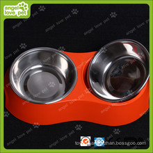 Red Melamine Double Bowl with Stainless Steel Bowl