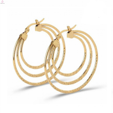 Statement Personality Marbling Stainless Steel Large Round Shaped Earrings