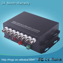 Excellent quality 8 channel video multiplexer / bnc audio video over coaxial cable to fiber transceiver