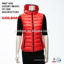 Fashinable Red Short Winter Women Sleeveless Down Vest with Hood