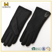 Fashion women wearing smartphone knitting machine wool gloves