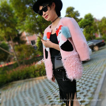 2016 Pink Winter Long Style Real Lamb Mongolian Sheep Fur Coat For Lady