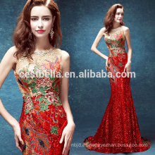 Las mujeres occidentales de la manera apretan los vestidos de partido rojos atractivos de la Navidad Vestido de noche largo de la sirena Rojo