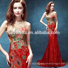 Западная Мода Женщин Узкие Сексуальный Красный Рождество Платья Длинные Русалка Вечернее Платье Красный
