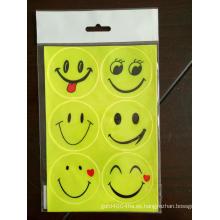 Etiqueta engomada reflectante de la cara grande de la sonrisa para el bolso de escuela