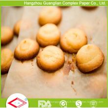 Papier de boulangerie de silicone de nourriture de brun naturel résistant à la chaleur de 42X62cm
