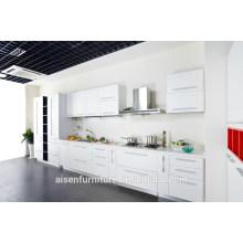 Modernes hölzernes Korn Weißes Melamin Küchenschrank