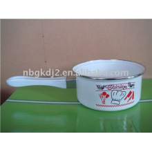 panela de leite de esmalte com cabo de plástico
