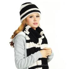 (LKN15036) Промоциональные зимние трикотажные шапки-шапки с шарфом