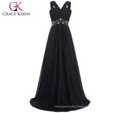 Grace Karin Elegant Ladies Sleeveless Chiffon Beaded Long Black Prom Dresses CL6013