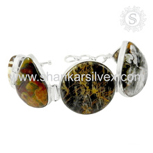 Fantabulous jasper silver bracelet jewelry wholesale 925 sterling silver gemstone bracelets jewellery manufacturer india