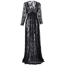 Kate Kasin Maternité SexyDeep V-Neck Long Sleeve See-Through Black Lace Robe de maternité Maxi Long KK001082-1