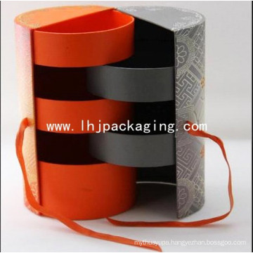 Five Layers Round Food Paper Box Packaging with Foil Stamping