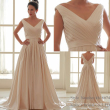 champagne pink taiwan satin thick satin simple but elegant wedding dresses