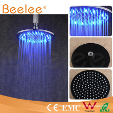 Cabezal de ducha autoajustable del LED cabeza de ducha redonda mate negra de la precipitación del cuarto de baño del cuarto de baño