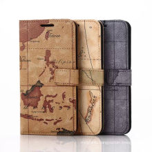 Luxury Map Design Leather Mobile Phone Cover for Samsung S6