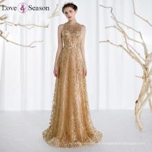 OB96297 vestido de noiva com contas flores reais vestido de noite vestidos de noite de ouro feitos na China