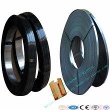Correa de empaquetado de acero plana revestida cera azul / negra de las correas, corchete del embalaje