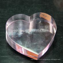 Coração de rosa por atacado personalizado em forma de Paperweight de cristal