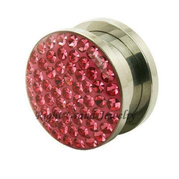 Jóia de corpo original 316L aço rosa cristal 10 mm pedra orelha Plug