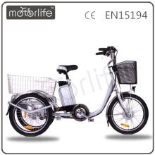 MOTORLIFE / OEM marca EN15194 36 v 250 w auto riquixá elétrico em bangladesh, triciclo elétrico para adulto