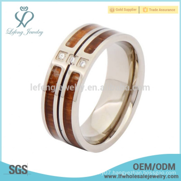 Crystal silver titanium and wood rings,wood titanium man ring